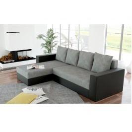 Smartshop Rohová sedačka ERON 2, univerzální, šedá/černá ekokůže látková s úložným prostorem