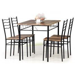 Moderní černá jídelní set ESPRIT 1+4 ořech dřevěná