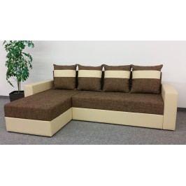 Smartshop Rohová sedačka VERA, univerzální provedení, hnědá látka/béžová ekokůže dřevěná s úložným prostorem