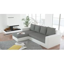 Smartshop Rohová sedačka ERON 3, univerzální, šedá/bílá ekokůže látková s úložným prostorem