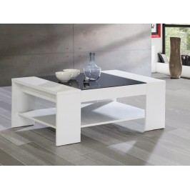 Forte BRADY, konferenční stolek, bílá/černé sklo lamino
