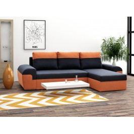 Univerzální smartShop Rohová sedačka MORY KORNER, černá/oranžová látková