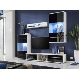 Modrá smartshop LIPPI, obývací stěna, bílá/černý lesk lamino