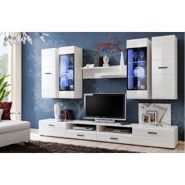 Kvalitní smartshop LAUREN, obývací stěna, bílá/bílý lesk MDF lamino