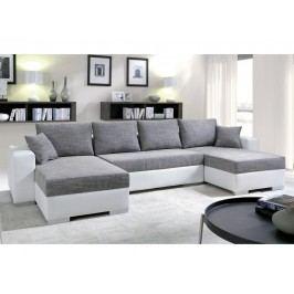 Černá smartShop Rohová sedačka KENZO 1, šedá/bílá ekokůže látková s úložným prostorem