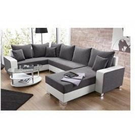 Univerzální smartshop Rohová sedačka PALO 1, šedá látka/bílá ekokůže dřevěná s úložným prostorem