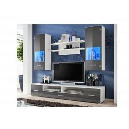 Kvalitní smartshop RENO, obývací stěna, bílá/grafitový lesk