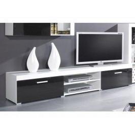 Černá CAMA Televizní stolek SAMBA - Bílá/černá lesk