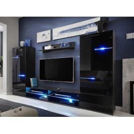 Smartshop MODERN, obývací stěna, černá/černý lesk lamino