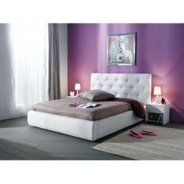 Čalouněná aspol Jasmine postel 160x200, bílá ekokůže látková