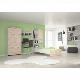Univerzální šedá MB Domus Dětský pokoj COLUMO 03, bílá/dub sanremo dekor dub s úložným prostorem
