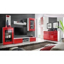 Kvalitní smartshop Obývací stěna TIMBER 1, bílá/červený lesk