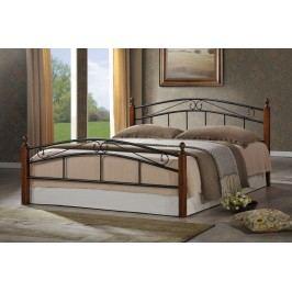 Elegantní černá smartshop CRETA, postel 180x200 cm s roštem, masiv/kov, třešeň antická dřevěná
