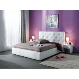 Čalouněná aspol JASMINE, postel 140x200, bílá ekokůže látková