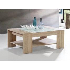 Forte BRADY, konferenční stolek, dub sonoma/bílé sklo DOPRODEJ lamino