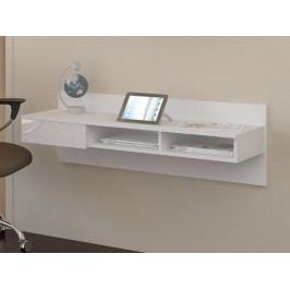 MORAVIA FLAT Designový psací stůl UNO, bílá/bílý lesk lamino