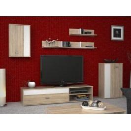 Bílá obývací stěna ASOLE, bílý/dub sonoma dekor dub