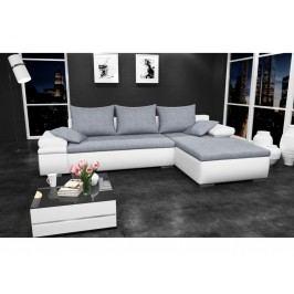Smartshop Rohová sedačka CAESAR, pravá, šedá látka/bílá ekokůže buková s úložným prostorem