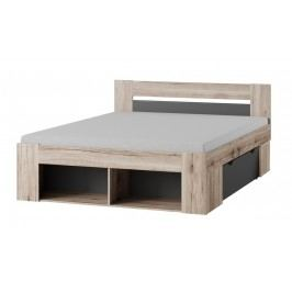 Kvalitní smartshop ROMA postel 160x200, dub/šedá lamino