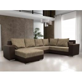 Béžová smartshop Rohová sedačka STILLO 1, univerzální, hnědá/hnědá ekokůže látková s úložným prostorem