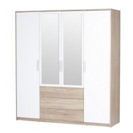 Bílá casarredo Šatní skříň MILO 4-dvéřová dub sonoma