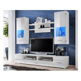 Kvalitní smartshop RENO, obývací stěna, bílá/bílý lesk