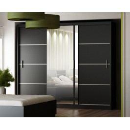 Praktická černá smartshop Šatní skříň s posuvnými dveřmi VISTA 250, černá