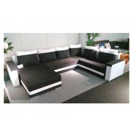 Smartshop Rohová sedačka TUNNIS 1, univerzální, černá látka/bílá ekokůže dřevěná s úložným prostorem