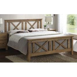 Kvalitní smartshop TEXAS, masivní postel 180x200 cm s roštem, teak s vypalovaným dekorem dřevěná