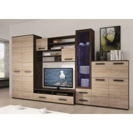 Kvalitní smartshop ORION, obývací stěna, wenge/dub sonoma včetně LED