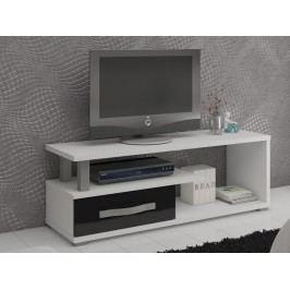 MORAVIA FLAT ANGEL TV stolek 1D, bílá/černý lesk