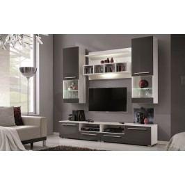 Bílá CASARREDO WU-2020 obývací stěna lamino lesk