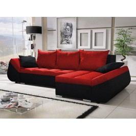 Univerzální smartshop Rohová sedačka KORFU 3, červená/černá látková s úložným prostorem
