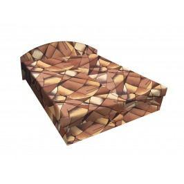 Smartshop Čalouněná postel ÁJA 180x200 cm, hnědožlutá látka dřevěná s úložným prostorem