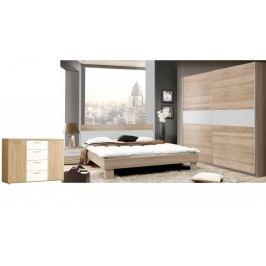 Moderní forte GOLDSTAR, ložnice komplet, dub sonoma/bílá