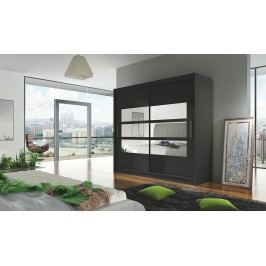 Moderní černá smartshop Šatní skříň BEGA III černá se zrcadlem DOPRODEJ lamino