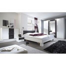 Smartshop VERA postel 180x200 cm s nočními stolky, bílá/ořech černý lamino