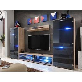 Smartshop MODERN, obývací stěna, dub san remo/grafit lesk lamino