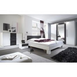 Smartshop VERA ložnice s postelí 180x200, bílá/ořech černý lamino