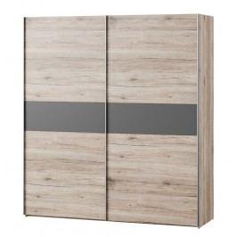 Kvalitní smartshop ROMA šatní skříň, dub/šedá lamino