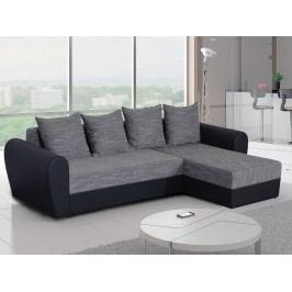 Univerzální smartshop Rohová sedačka FORD 3, šedá látka/černá ekokůže dřevěná s úložným prostorem