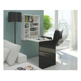 Moderní MORAVIA FLAT Psací stůl HIDE, bílá/černý lesk lamino