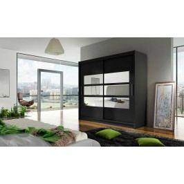 Smartshop Šatní skříň BEGA III, černý mat/zrcadlo lamino