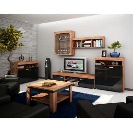 MORAVIA FLAT Obývací stěna MAX, švestka/černý lesk lamino