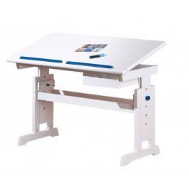 Halmar Rostoucí psací stůl BARU, bílo- růžovo-modrá masivní