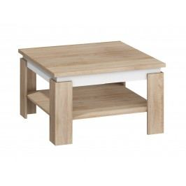 MORAVIA FLAT Konferenční stolek ALFA, dub sonoma světlý/bílý lesk lamino