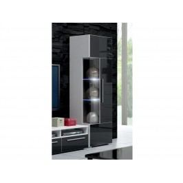 Smartshop ROMA vitrína 160 s LED osvětlením, bílá/černý lesk lamino