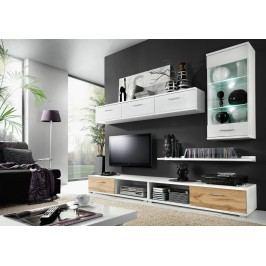 Kvalitní bílá KRISMAR MALLIBU, obývací stěna, bílá/dub wotan lamino skládací
