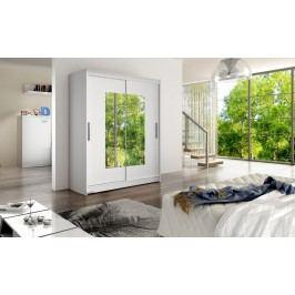 Smartshop Šatní skříň WESTA III, bílý mat/zrcadlo lamino