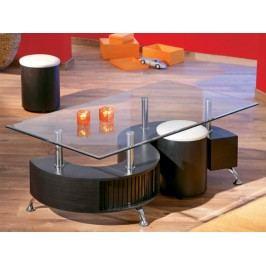 Tempo Kondela OTELO konferenční stolek + 2 taburetky, ořech/bílá ekokůže